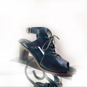 Fiorentini + Baker Black Leather Lace Up Heels 6